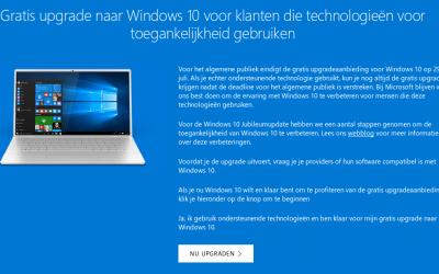 Windows 10 nog steeds gratis beschikbaar
